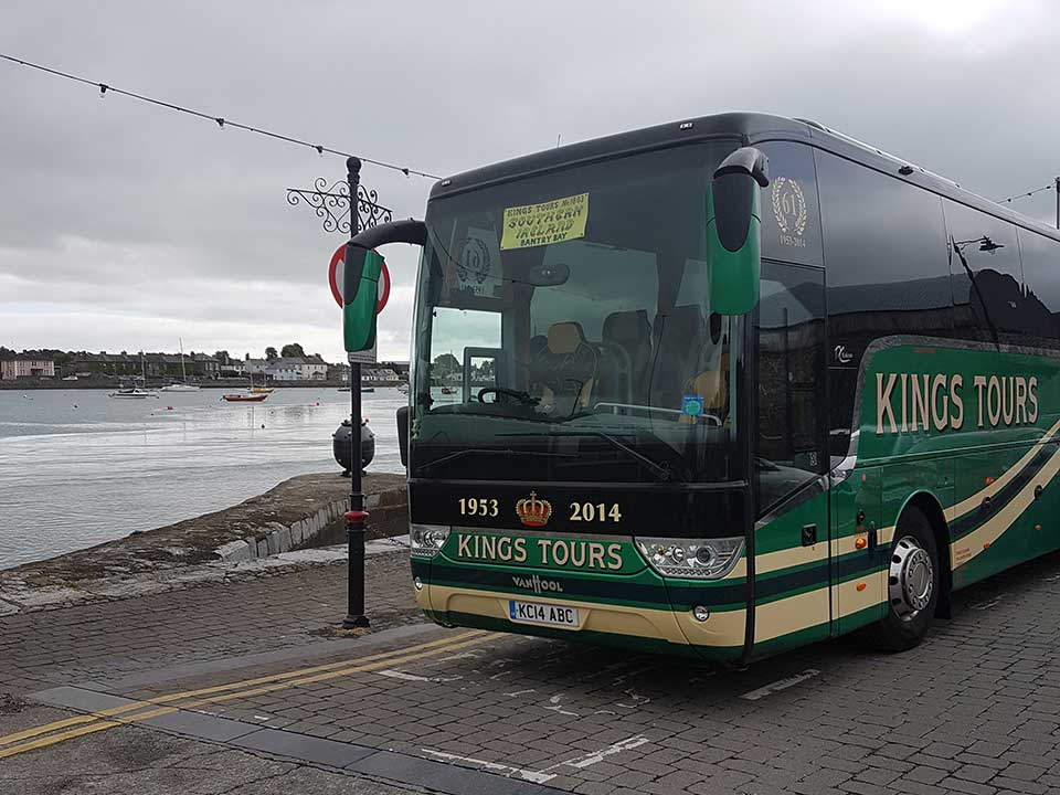 KC14 ABC parked at Dungarvan Harbour on the Kings Coaches Irish tour